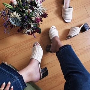 Who What Wear off white woven mules